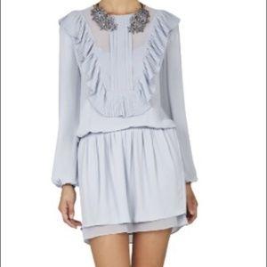 BCBG Light Blue Pleated Mini Dress